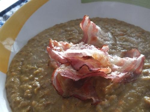 lenticchie rosse, vellutata di lenticchie rosse, pancetta rosolata